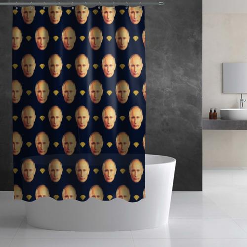 Штора 3D для ванной Путин Фото 01