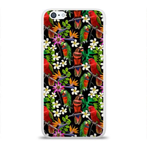 Чехол для Apple iPhone 6Plus/6SPlus силиконовый глянцевый  Фото 01, Попугаи
