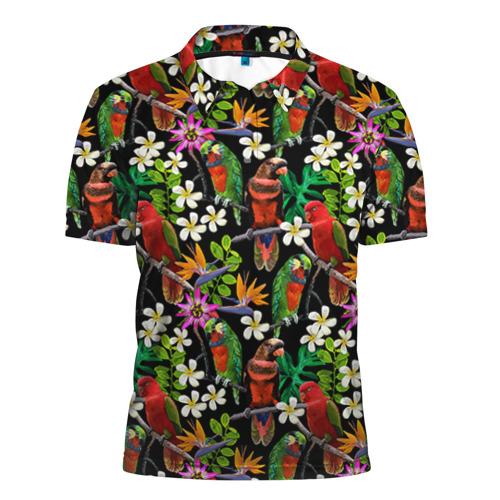 Мужская рубашка поло 3D Попугаи