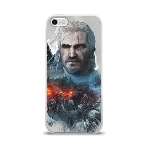 """Чехол силиконовый глянцевый для Apple iPhone 5S """"Witcher"""" - 1"""