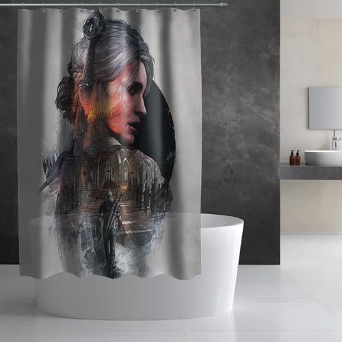 Штора 3D для ванной Девушки Ведьмака Фото 01
