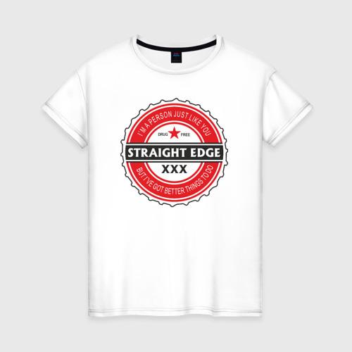 Женская футболка хлопок Straight edge