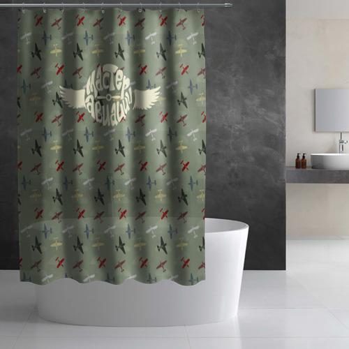 Штора 3D для ванной  Фото 03, Авиация