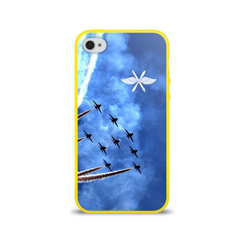 """Чехол силиконовый глянцевый для Apple iPhone 4 """"Самолеты в небе"""" - 1"""