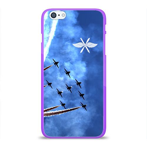 """Чехол силиконовый глянцевый для Apple iPhone 6 Plus """"Самолеты в небе"""" - 1"""