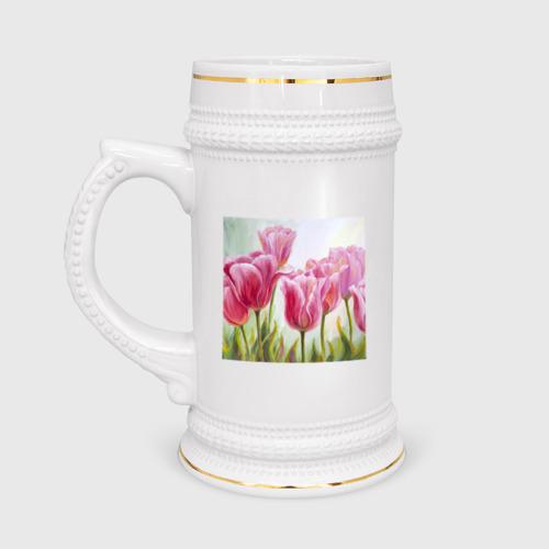 Кружка пивная  Фото 01, Тюльпаны