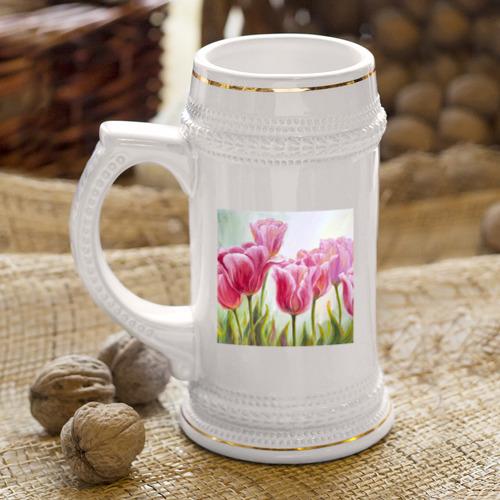 Кружка пивная  Фото 04, Тюльпаны