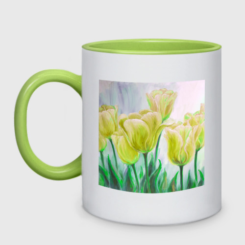 Кружка двухцветная  Фото 01, Тюльпаны