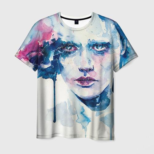 Мужская футболка 3D Акварель