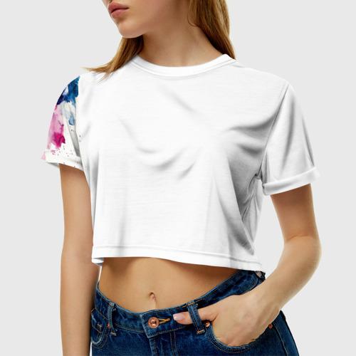 Женская футболка 3D укороченная  Фото 01, Акварель