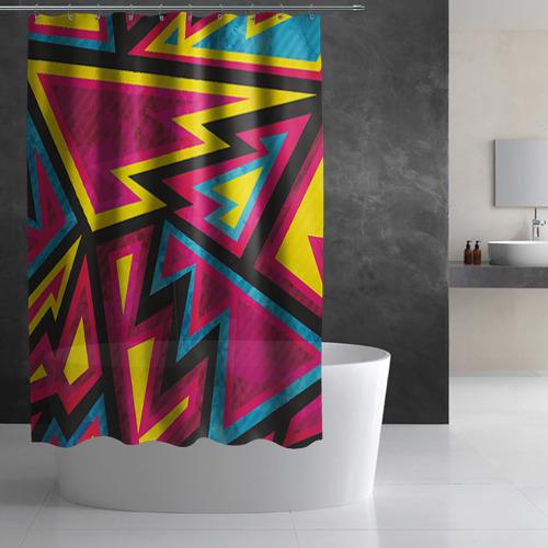 Штора 3D для ванной  Фото 02, Геометрия
