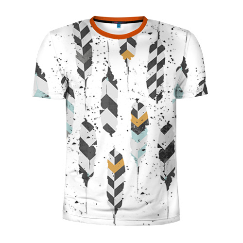 Мужская футболка 3D спортивная Перья