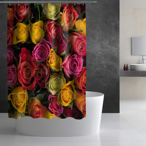 Штора 3D для ванной  Фото 02, Цветы
