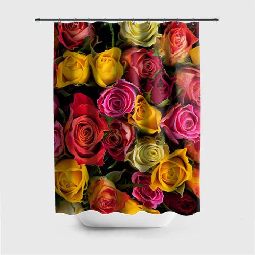 Штора 3D для ванной  Фото 01, Цветы