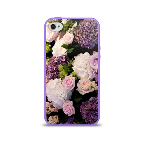 Чехол для Apple iPhone 4/4S силиконовый глянцевый  Фото 01, Цветы