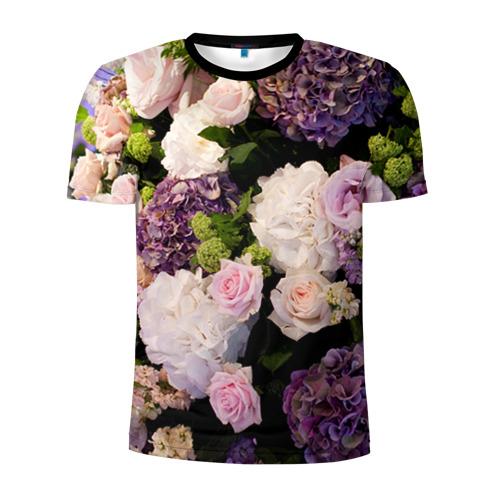 Мужская футболка 3D спортивная Цветы