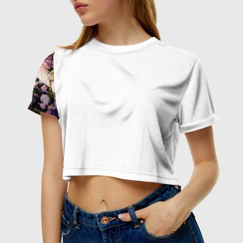 Женская футболка 3D укороченная Цветы