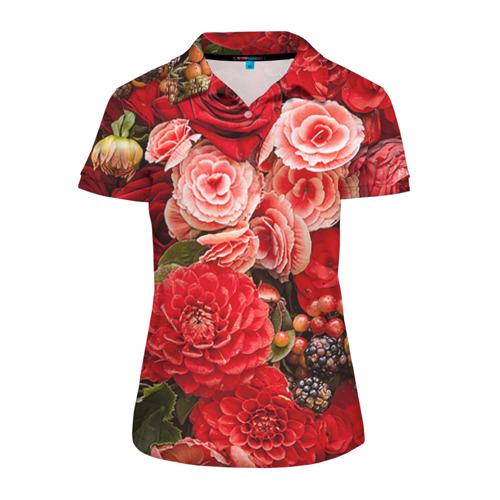 Женская рубашка поло 3D Цветы