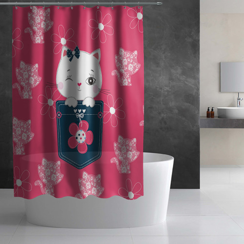 Штора 3D для ванной Котик Фото 01