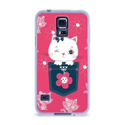Чехол для Samsung Galaxy S5 силиконовый  Фото 01, Котик