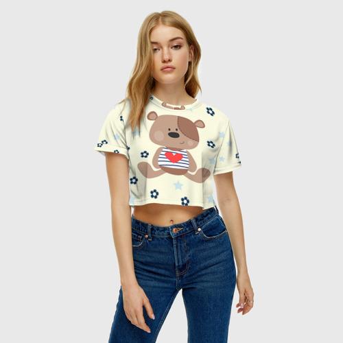 Женская футболка Crop-top 3D Мишка Фото 01