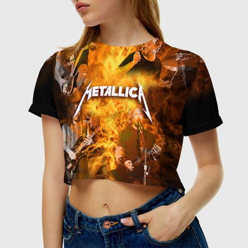 Женская футболка 3D укороченная METALLICA