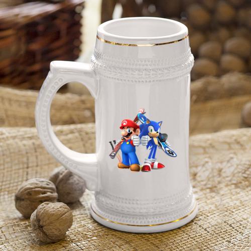 Кружка пивная  Фото 04, Sonic & Mario
