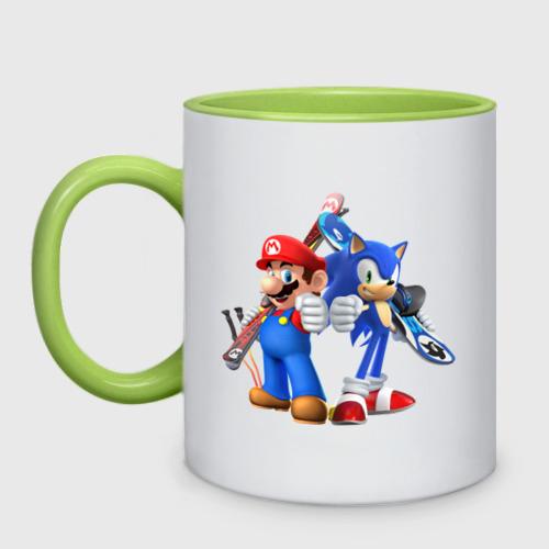 Кружка двухцветная Sonic & Mario Фото 01