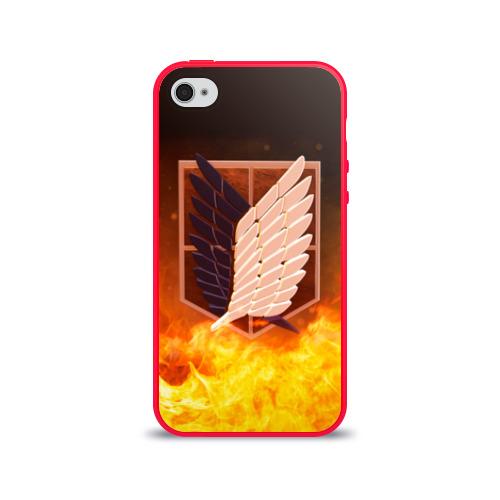 """Чехол силиконовый глянцевый для Apple iPhone 4S """"Атака Титанов"""" - 1"""