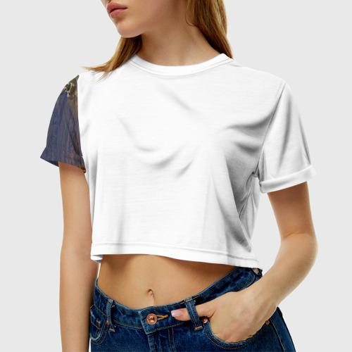 Женская футболка 3D укороченная Танк КВ-2