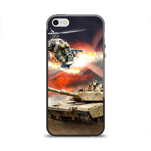 """Чехол силиконовый глянцевый для Apple iPhone 5S """"Танк"""" (4) - 1"""