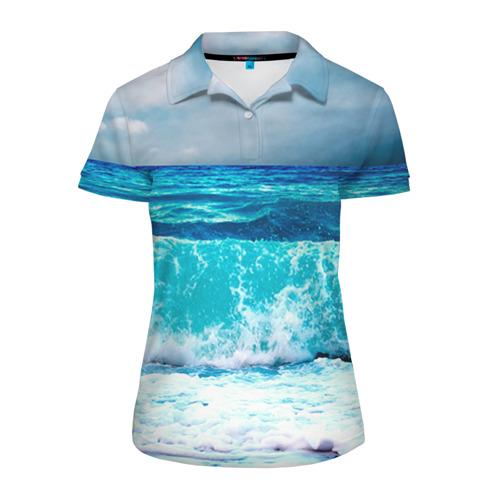 Женская рубашка поло 3D Волны