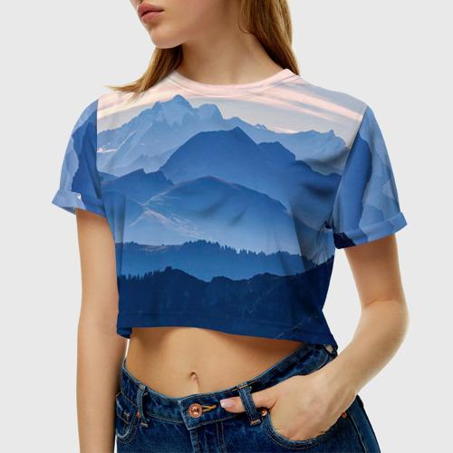 Женская футболка 3D укороченная Горы