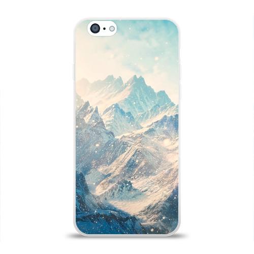 """Чехол силиконовый глянцевый для Apple iPhone 6 """"Горы"""" - 1"""