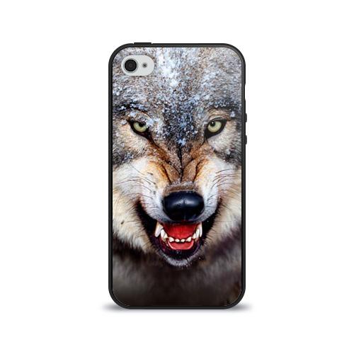 Чехол для Apple iPhone 4/4S силиконовый глянцевый Волк