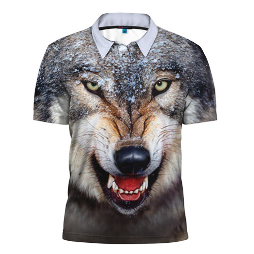 Мужская рубашка поло 3D Волк
