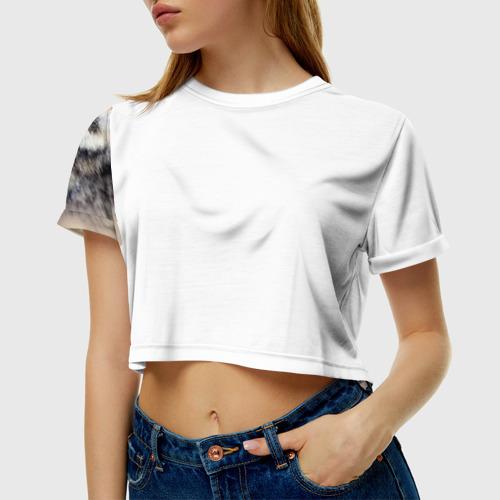 Женская футболка 3D укороченная Волк