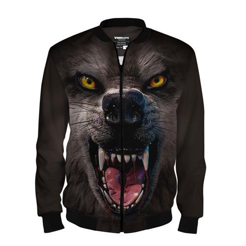Мужской бомбер 3D Злой волк