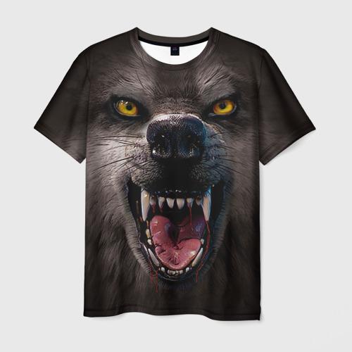 Мужская футболка 3D Злой волк