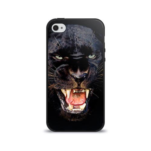 Чехол для Apple iPhone 4/4S силиконовый глянцевый Пантера
