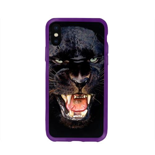 Чехол для Apple iPhone X силиконовый глянцевый Пантера Фото 01