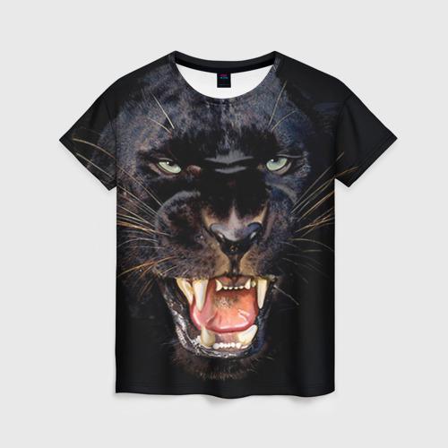 """Женская футболка 3D с полной запечаткой """"Пантера"""" - 1"""