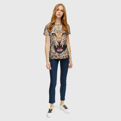 Женская футболка 3D Леопард Фото 01