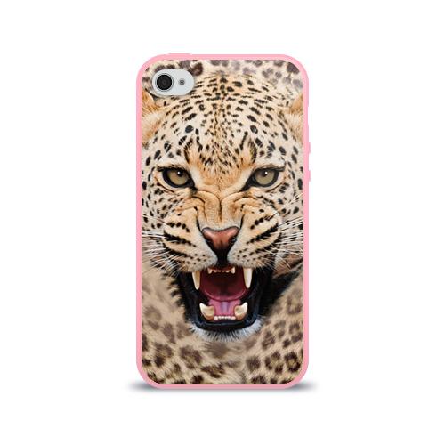 Чехол для Apple iPhone 4/4S силиконовый глянцевый Леопард