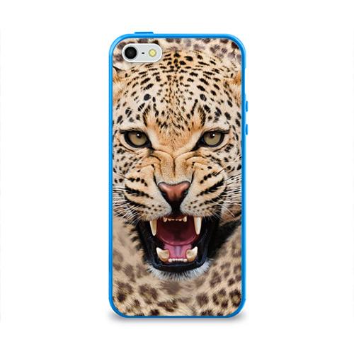 Чехол для Apple iPhone 5/5S силиконовый глянцевый  Фото 01, Леопард