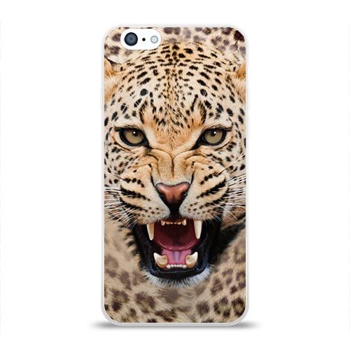 Чехол для Apple iPhone 6 силиконовый глянцевый Леопард Фото 01