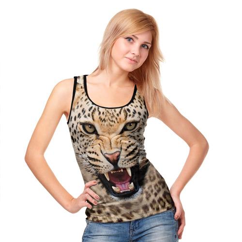 Женская майка 3D Леопард Фото 01