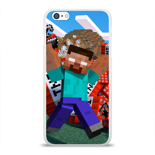Чехол для Apple iPhone 6Plus/6SPlus силиконовый глянцевый Minecraft Фото 01