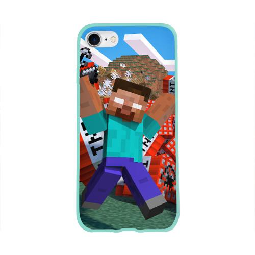 Чехол для Apple iPhone 8 силиконовый глянцевый Minecraft Фото 01