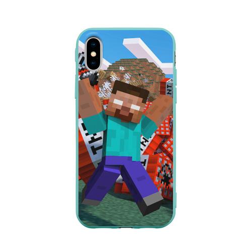 Чехол для Apple iPhone X силиконовый матовый Minecraft Фото 01
